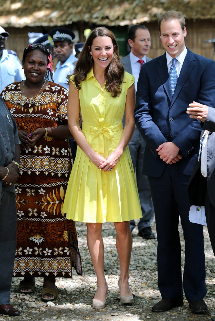 Kate Middleton stepped out in an electric yellow Jaeger number in Honiara. Although, she toned down the accessories, only pairing the look with her signature L.K.Bennett pumps.
