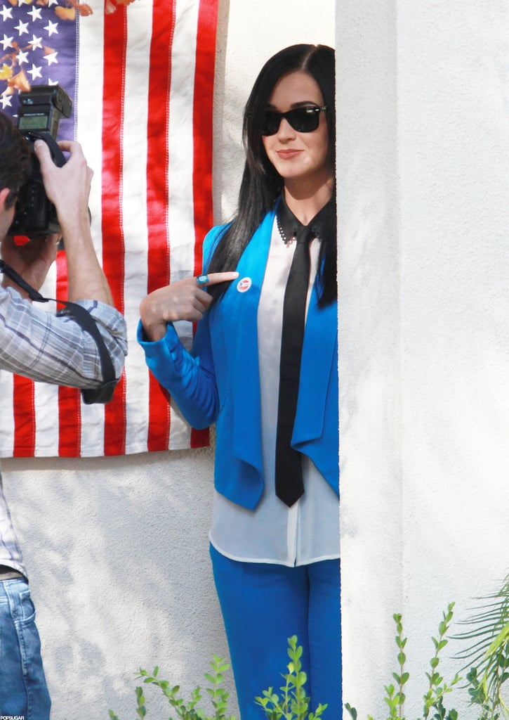 """Katy Perry proudly showed off her """"I Voted"""" sticker at the polls in Los Feliz, CA."""