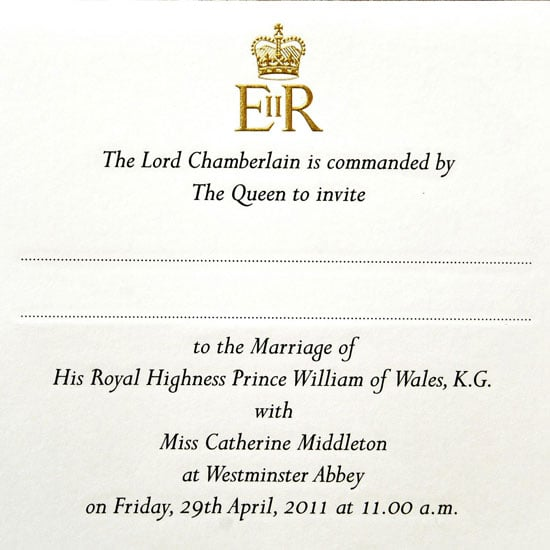 Pictures of Prince William and Kate Middleton's Royal Wedding Invitations
