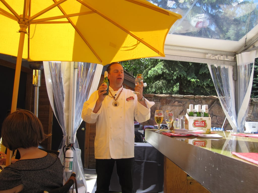 The food was paired with Stella, Hoegaarden, and Leffe beers. Master beer sommelier Marc Stroobandt was on hand to teach us the proper way to pour beer. You start by pouring straight into the glass, then, when it's half full, tilt the glass to create a thick layer of foam.