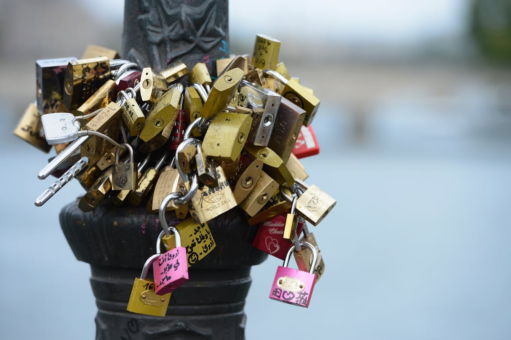 Love locks were attached to Pont des Arts in Paris.