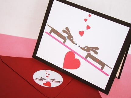 Teetering Valentine Doxies Sweet Card with by persnicketypelican ($2.80)