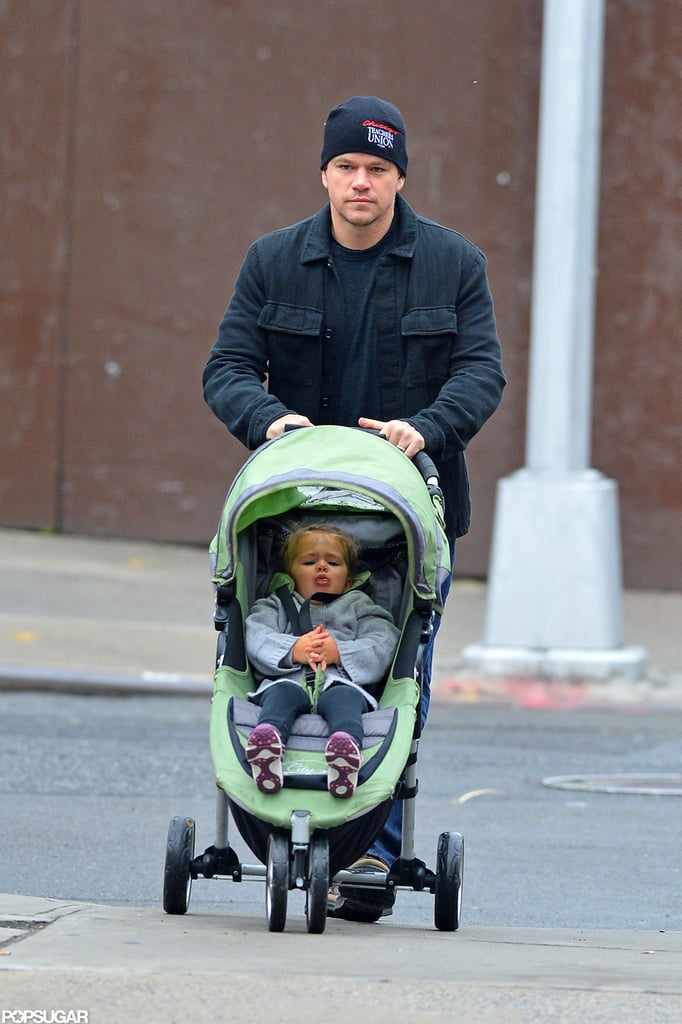 Matt Damon and His Daughter Stella Bundle Up For a Stroll in NYC