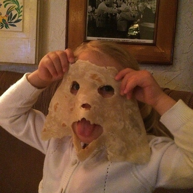 You won't believe us, but that's Pink's little love, Willow Hart, hiding behind that tortilla mask. Source: Instagram user hartluck