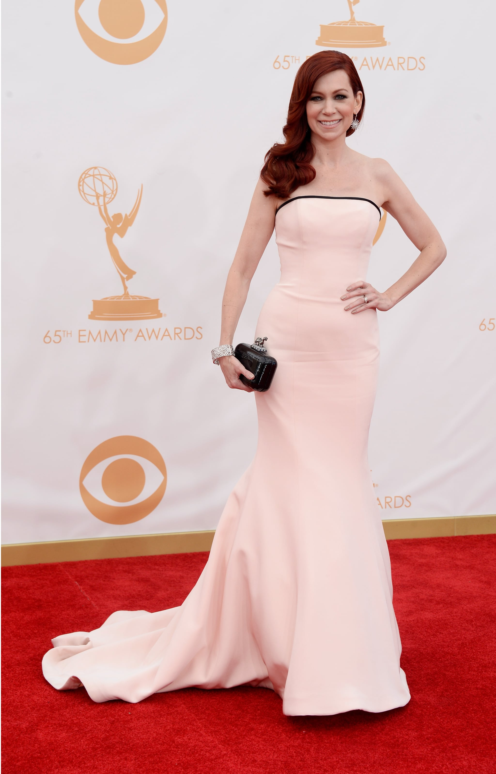 Actress Carrie Preston struck a pose on the Emmys red carpet.