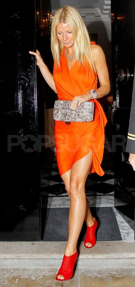 Gwyneth Paltrow leaves dinner with Chris Martin.