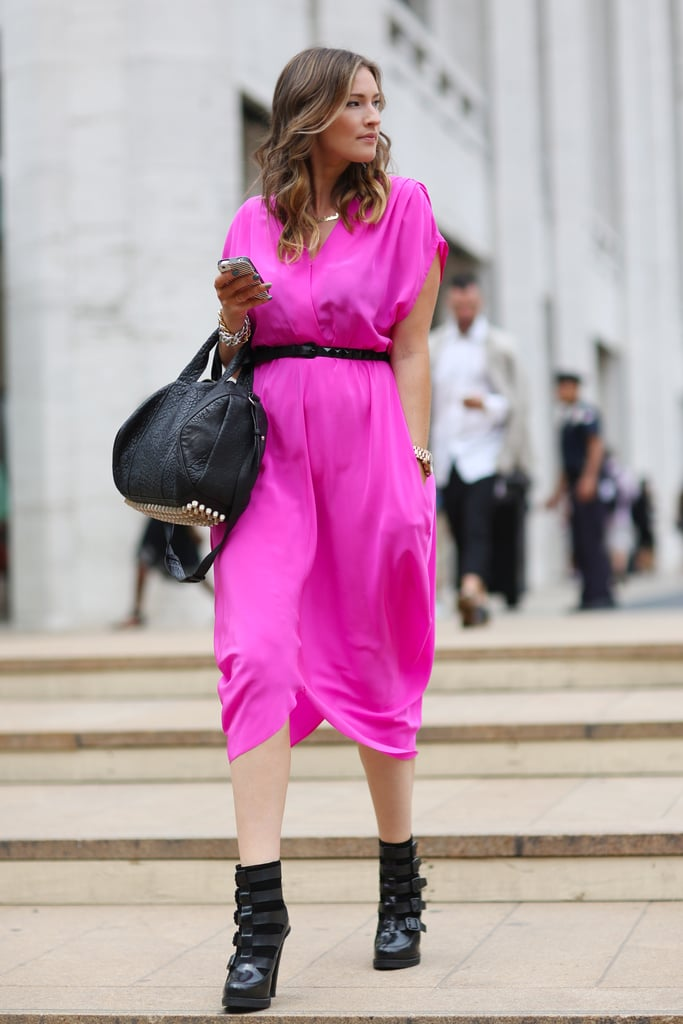 We're kind of obsessed with this high-wattage hue in a totally slouchy, easy fit — then amped up with buckled ankle boots and a studded Alexander Wang bag. Source: Greg Kessler