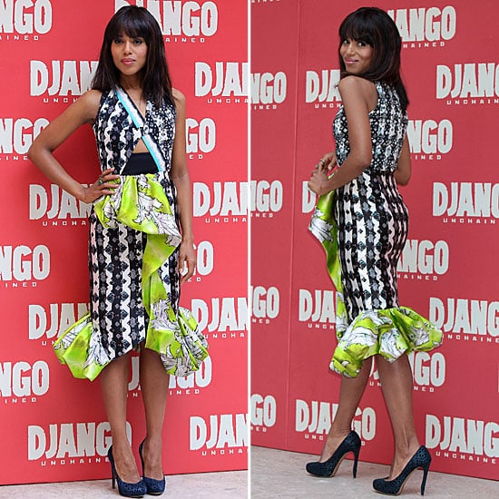 Kerry Washington In Neon Ruffled Peter Pilotto Dress