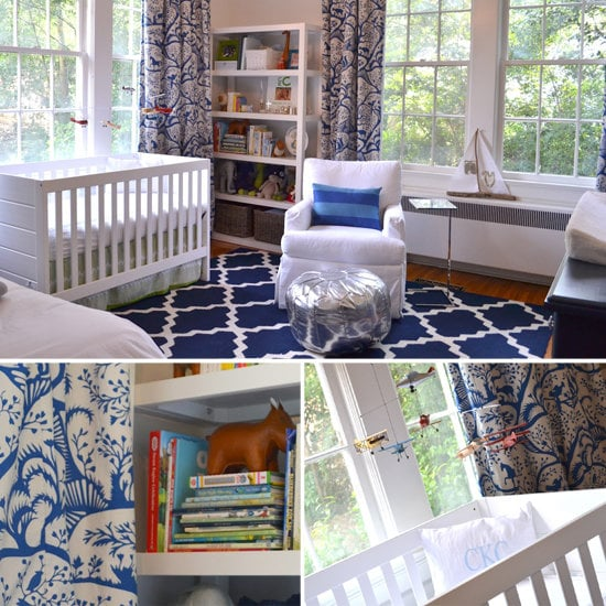 Nurseries: A Sophisticated, Glam Navy-and-White Nursery For a Baby Boy