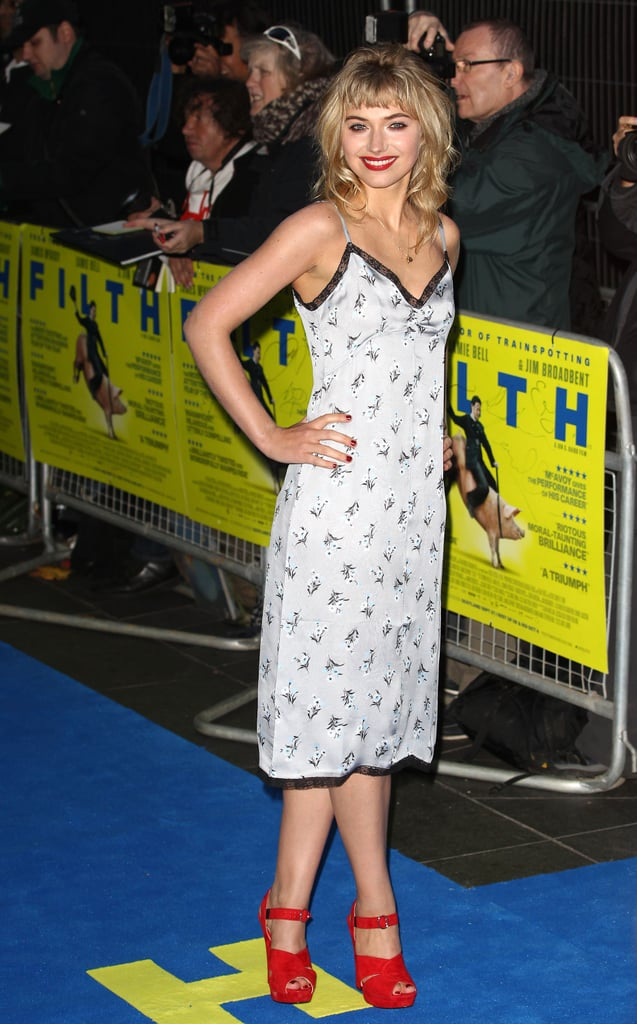 At the Filth premiere, Imogen Poots flaunted some serious steppers with her Prada slip dress.