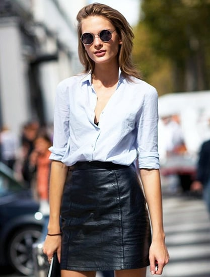 Model-Off-Duty Style: Snag This Crazy Sexy Cool Leather Skirt Look
