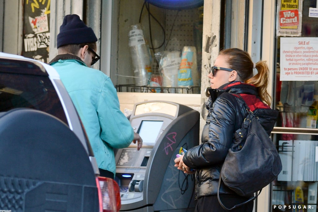 Scarlett Johansson and Romain Dauriac stopped at an ATM in NYC.