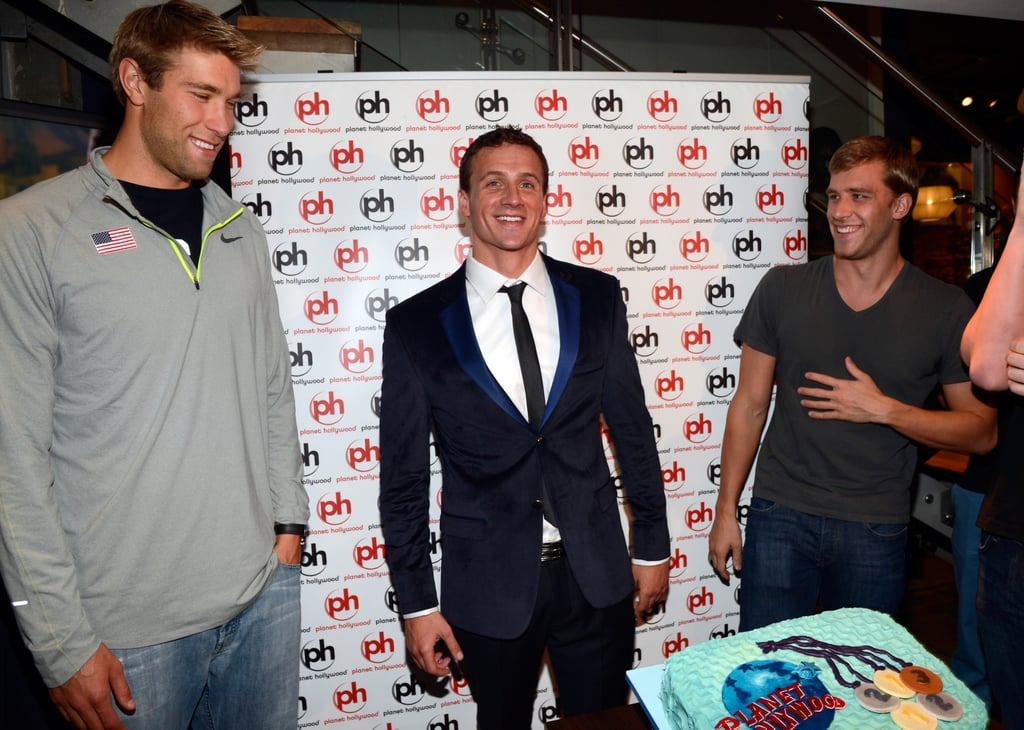 A candid shot of Ryan Lochte and his friends at his birthday bash in London.