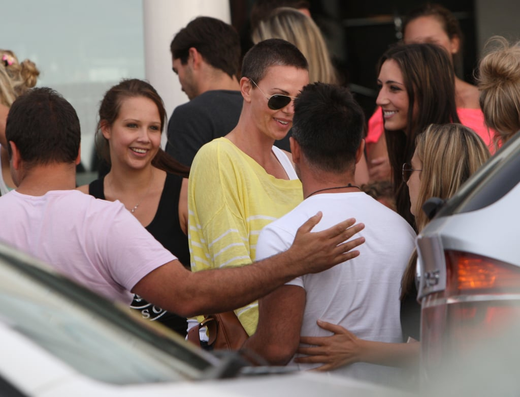 Charlize Theron greeted fans in Cape Town, South Africa.