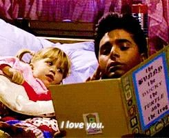 When he reads her bedtime stories.
