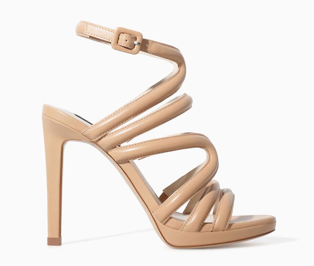 Zara strappy nude high-heel sandals ($80)