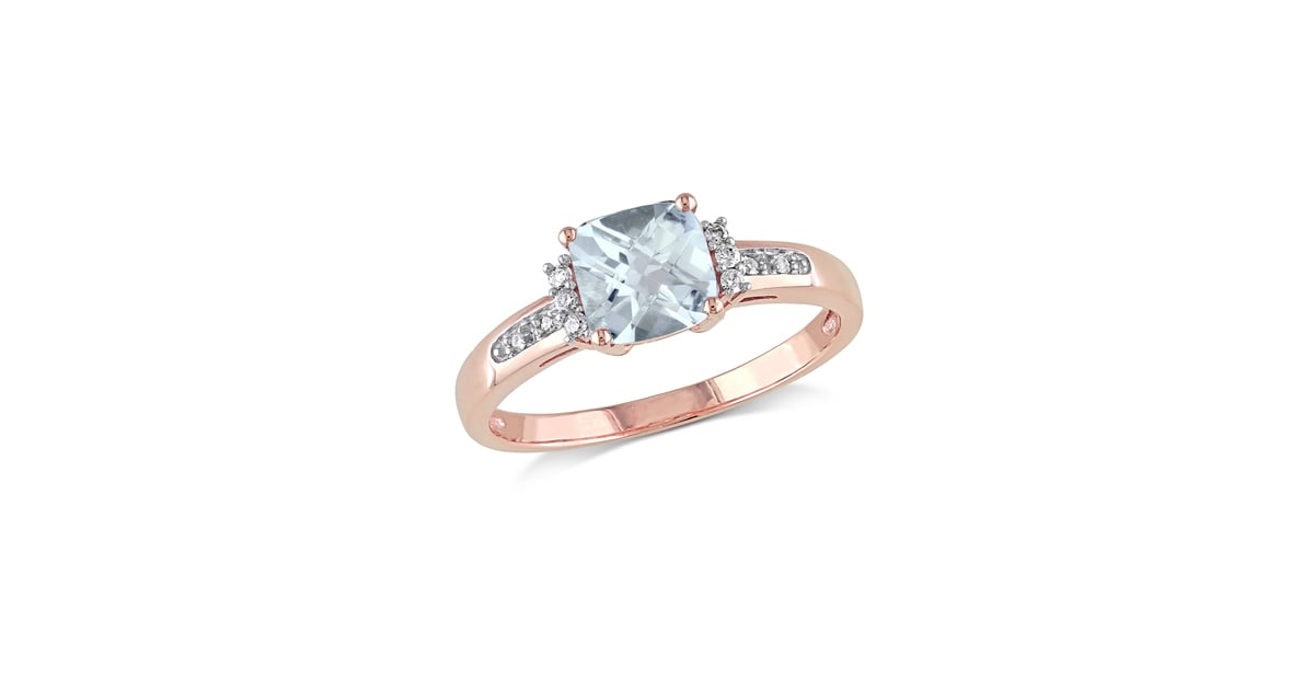 Zales 6 0mm Cushion Cut Aquamarine and Diamond Accent Engagement Ring