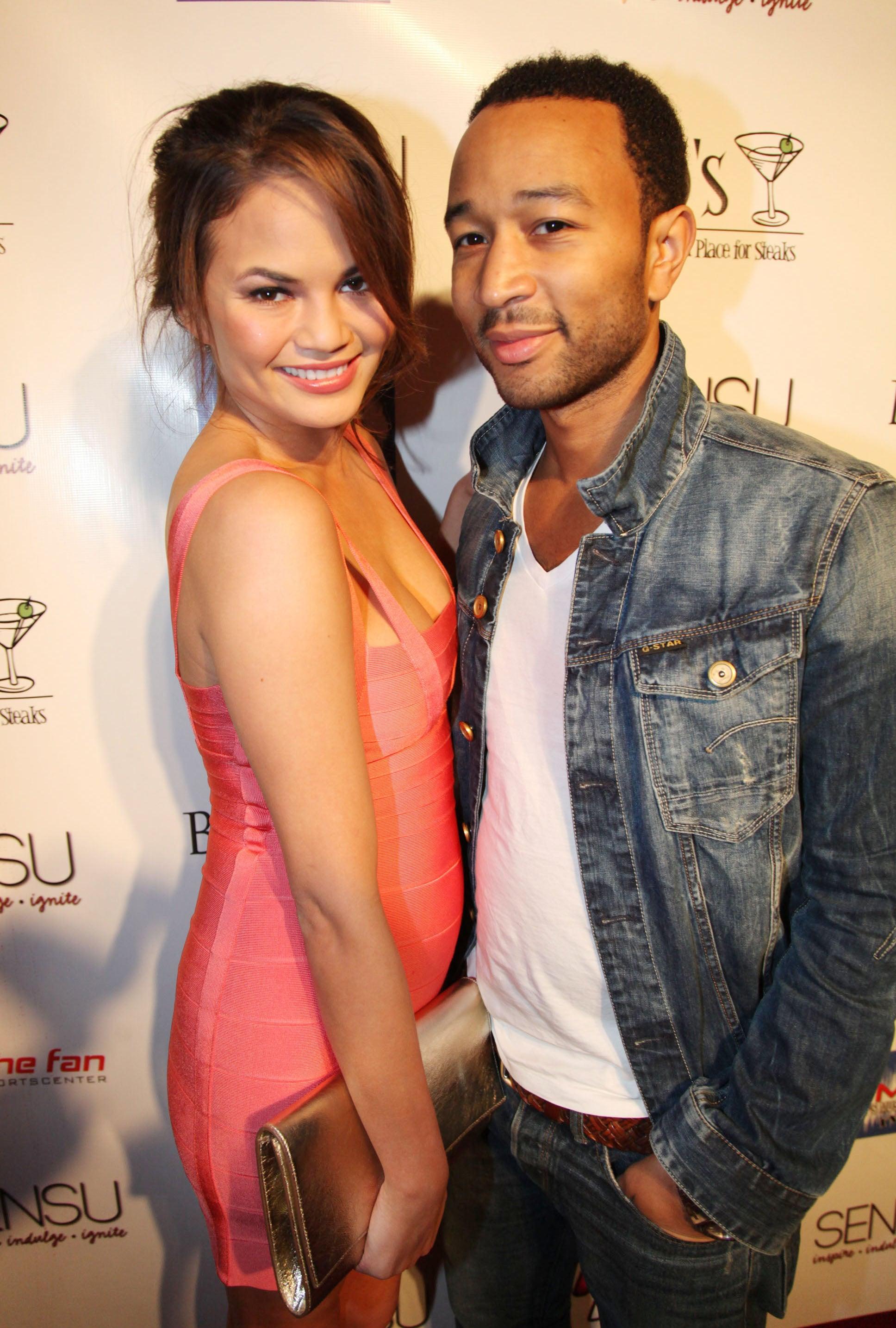 Chrissy Teigen and John Legend attended Celebration Sunday at Sensu during Super Bowl weekend 2012.
