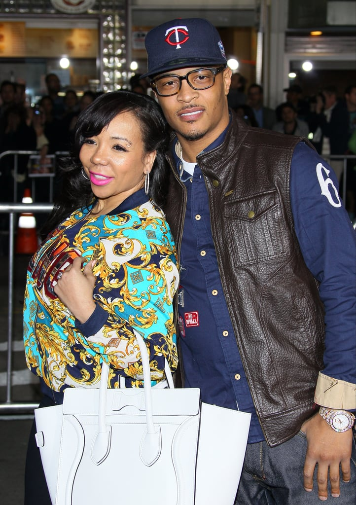 """T.I. and wife, Tameka """"Tiny"""" Cottle smiled on the red carpet at the Identity Thief premiere in LA."""