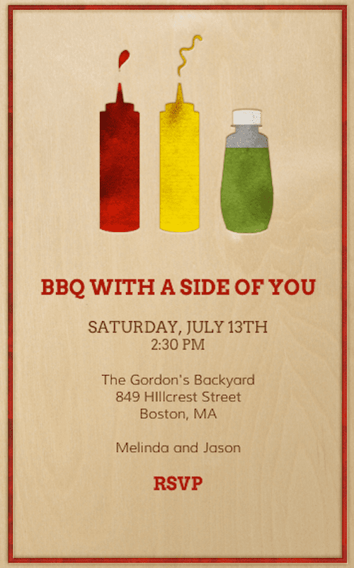 """It's not a barbecue without ketchup and mustard, so get your guests in the mood with this """"side of you"""" invitation (price upon request)."""