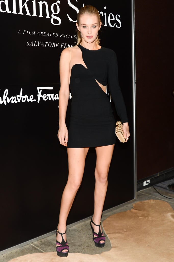 At Ferragamo's screening of Walking Stories , Elizabeth Gilpin was at her most alluring in a revealing black mini.