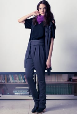 Organic wool jersey top and bamboo rayon pants. Hand-loomed Ahimsa scarf (nonviolent) silk blessed by H.H. the Dalai Lama, hand dyed with eggplant, mulberries, grapes, elderberries, etc.