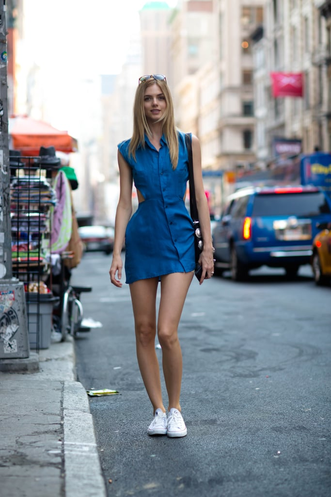 All she needed for the outfit win? A cutout minidress to turn heads and a pair of sneakers to pare it down. Source: Le 21ème | Adam Katz Sinding