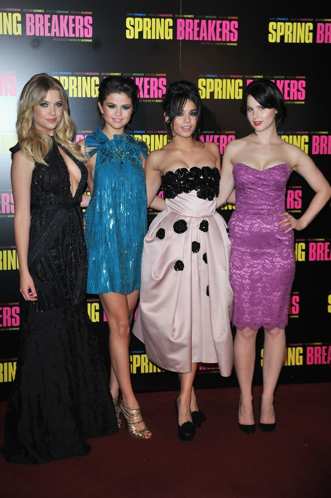 Spring Breakers costars Ashley Benson, Selena Gomez, Vanessa Hudgens, and Rachel Korine attended their Paris premiere on Monday.