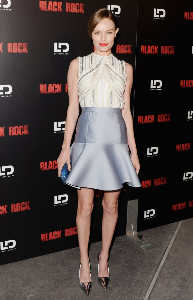 Kate dazzled in a full Miu Miu ensemble — which included an embellished backless top and flared satin skirt — at the May 2013 LA premiere of her latest film, Black Rock.