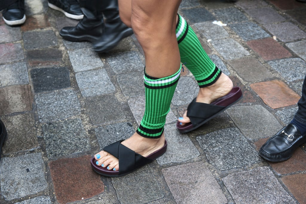 Not exactly your typical Winter footwear, but she's certainly on trend.