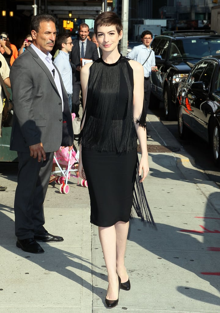 On her way into the Late Show With David Letterman in July 2012, Anne Hathaway wowed in a black fringe dress by Stella McCartney.