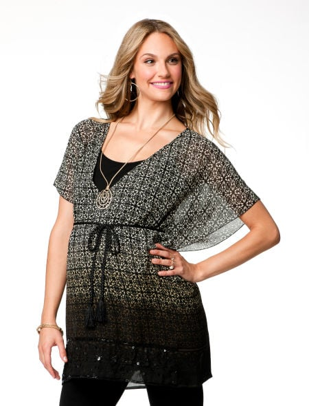 The sheer Short Sleeve Empire Waist Maternity Blouse ($49) would look great over a pair of black pants or even leggings.