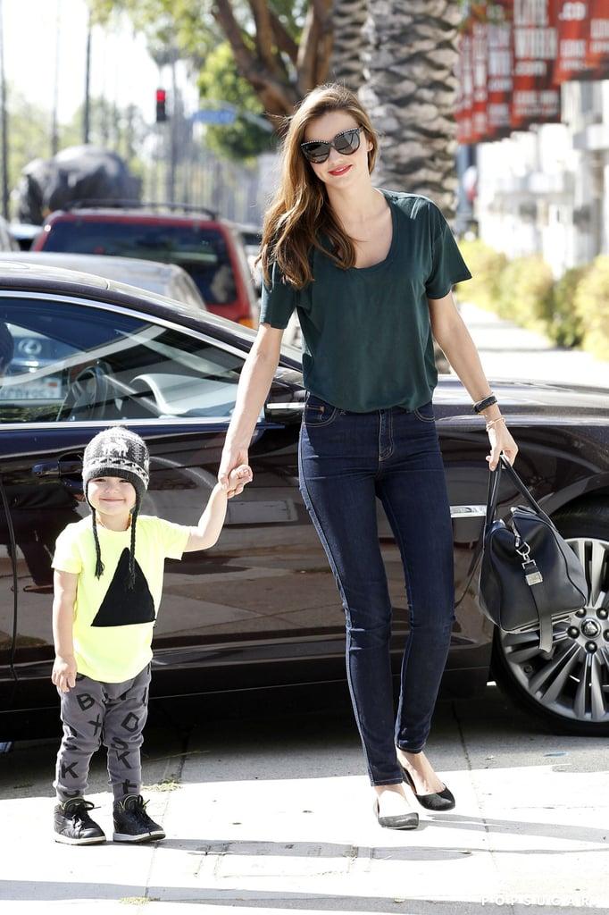 Miranda Kerr held onto her son, Flynn Bloom, in LA.