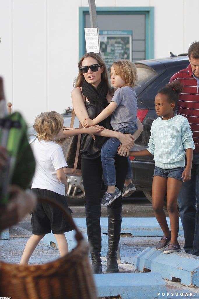 Angelina Jolie stepped out in France with her kids.