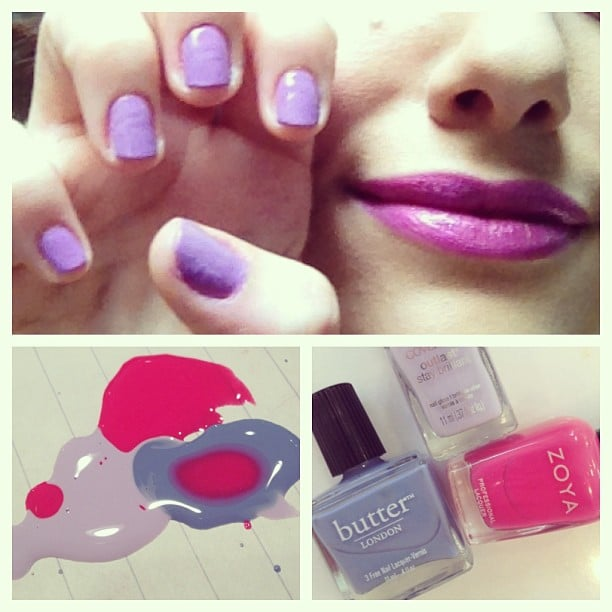 Emmy Rossum played mix master with her polishes to come up with this pretty lavender shade. Source: Instagram user emmyrossum