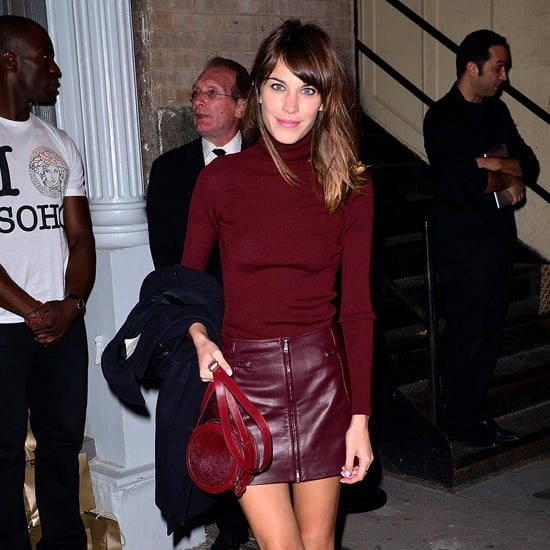 Alexa Chung Wearing Maroon Leather Skirt