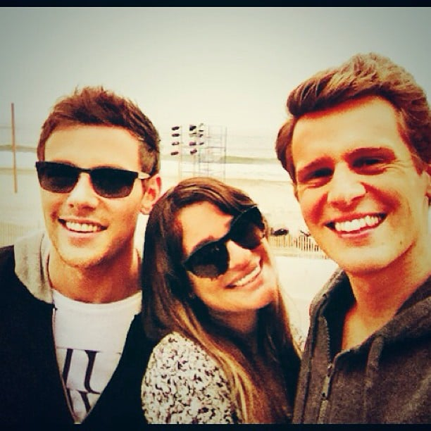 """She shared this photo of herself with her """"two favorite boys,"""" Cory Monteith and Jonathan Groff, in June 2013. Source: Instagram user msleamichele"""