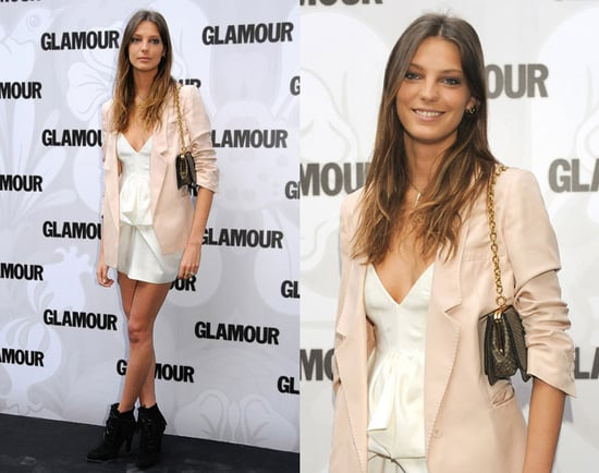 Daria Werbowy Attends Glamour Magazine Beauty Awards 2009 in Stella McCartney Nude Blazer and White Dress