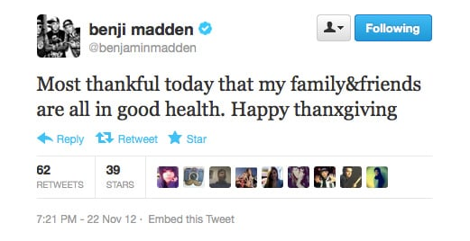 Good to see Benji Madden has his priorities in order.