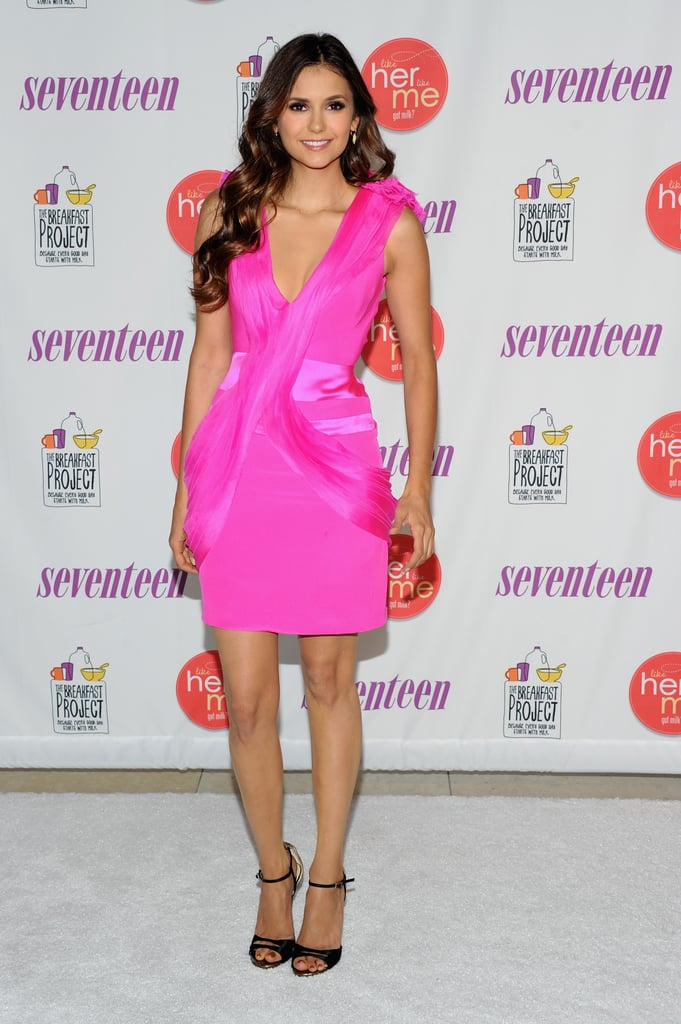 Nina Dobrev's hot pink Gabriela Cadena dress has the perfect amount of sex appeal and flirty intrigue for a night out with the girls.