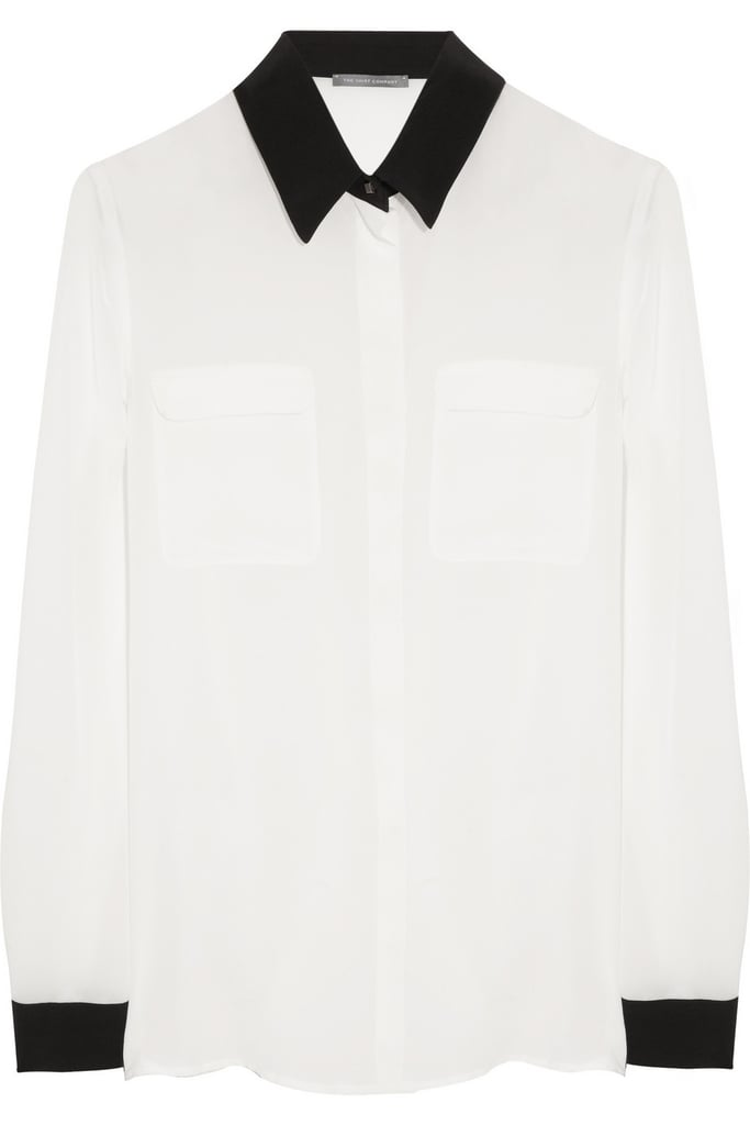 The Shirt Company's crepe de chine blouse ($83, originally $165) will become a Spring basic in no time at all; we love the crisp black detailing.