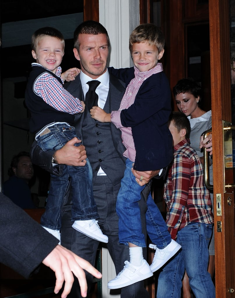 David Beckham carried Romeo and Cruz after a night out with his family in New York in November 2008.
