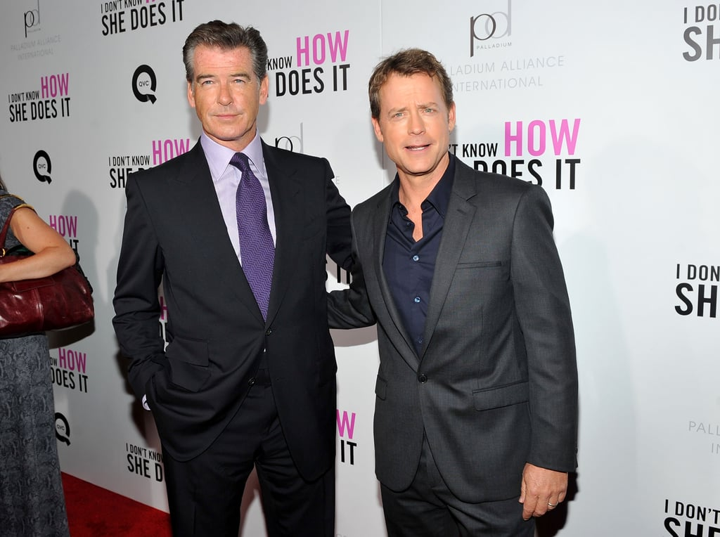 Greg Kinnear and Pierce Brosnan caught up on the carpet.