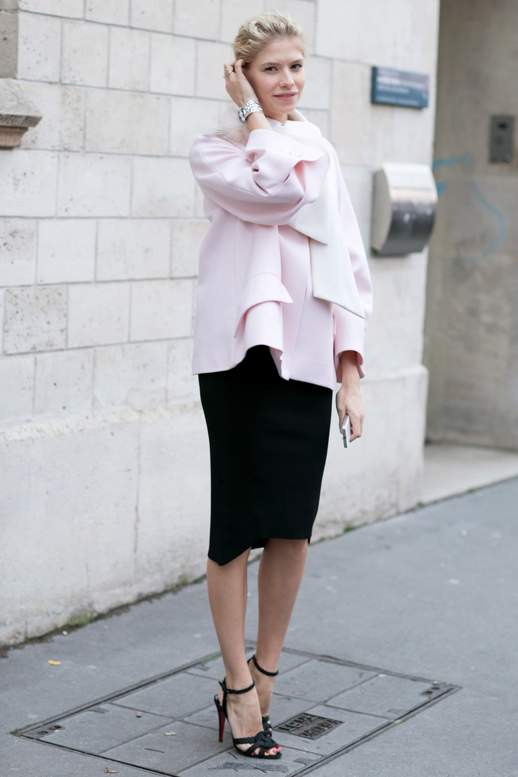 Elena Perminova showed off the softest petal pink with the perfect feminine flourishes.