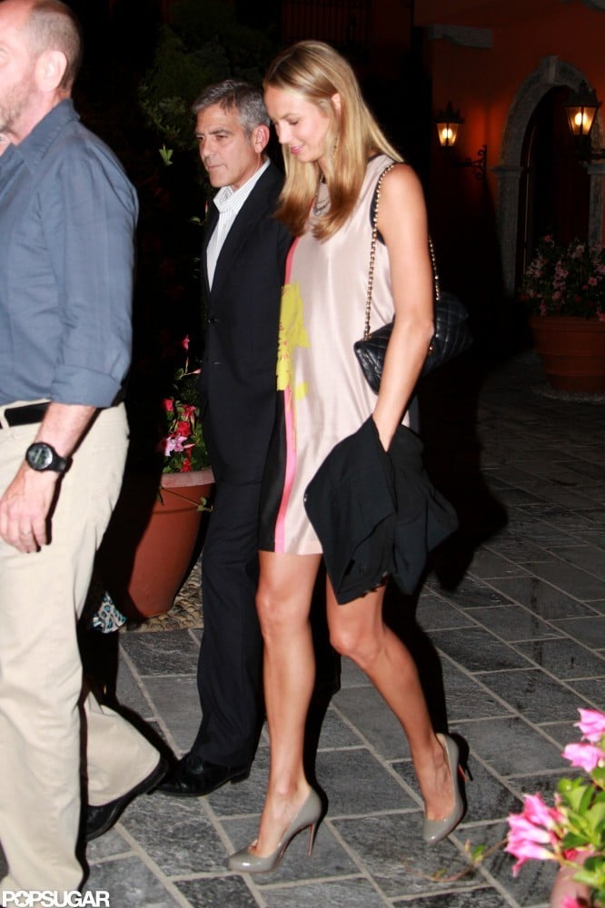 George Clooney and Stacy Keibler headed home from a dinner date in Lake Como in June.