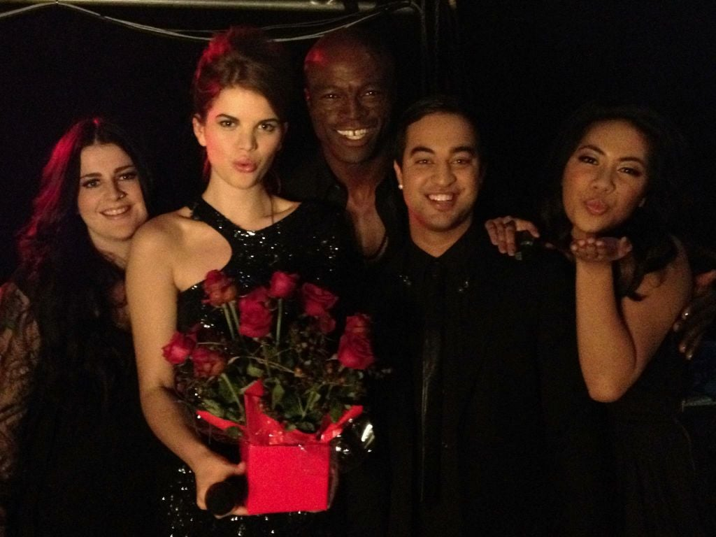 """Seal and his contestants on The Voice, Karise Eden, Emma-Louise Birdsall, Chris Sebastian and Fatai V, sang his iconic hit """"Kiss From a Rose"""" together on the live show. Source: Twitter user TheVoiceAU"""