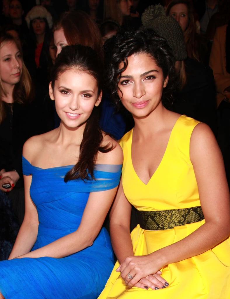 Nina Dobrev and Camila Alves wore complementary brights at Monique Lhuillier.