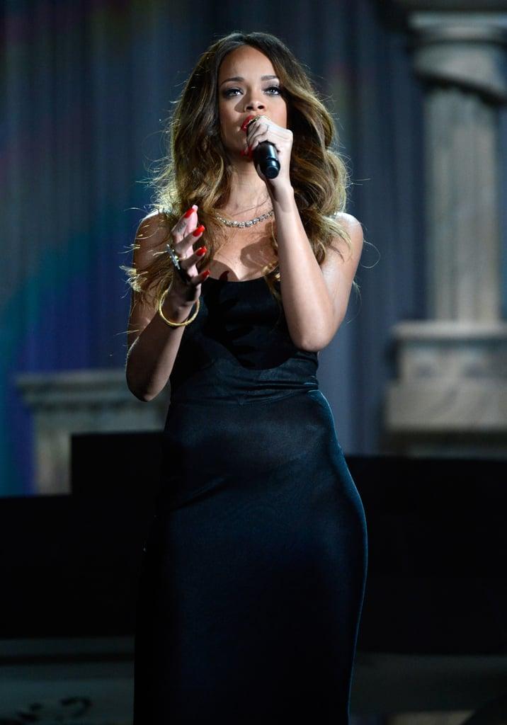 Rihanna performed at the 2013 Grammy Awards in LA.