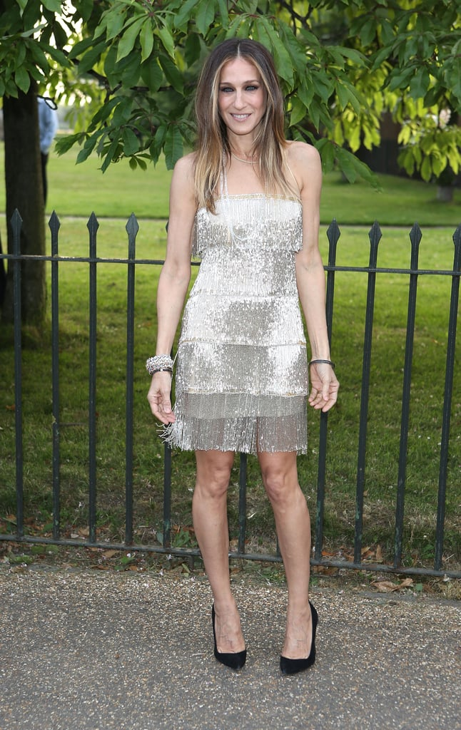 Sarah Jessica Parker channeled her inner Carrie Bradshaw in a metallic fringed Naeem Khan minidress at the Serpentine Summer Party.