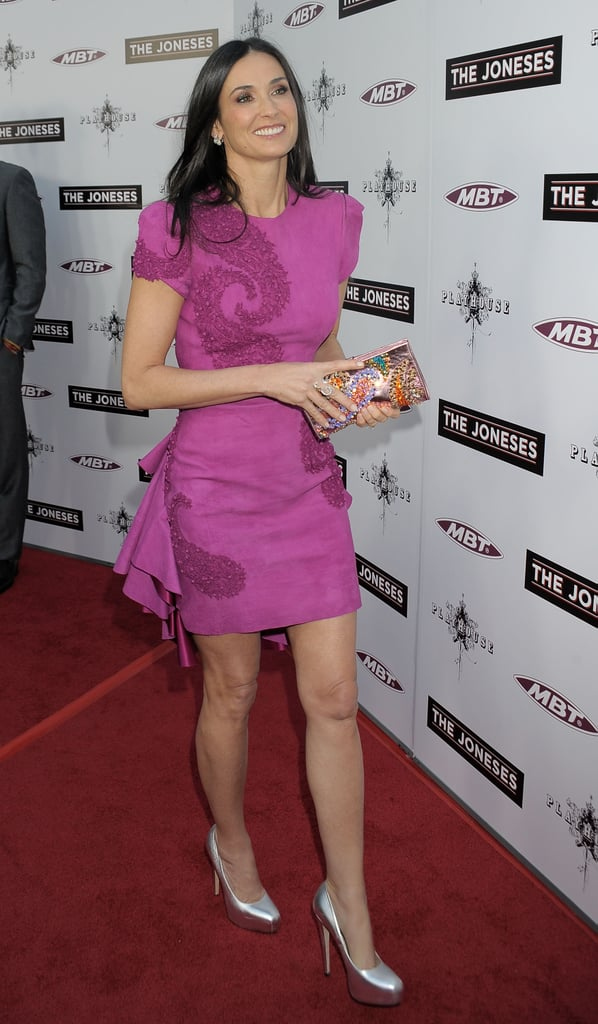 Love this Marchesa moment — the fuchsia hue, the silver pumps — love it all!